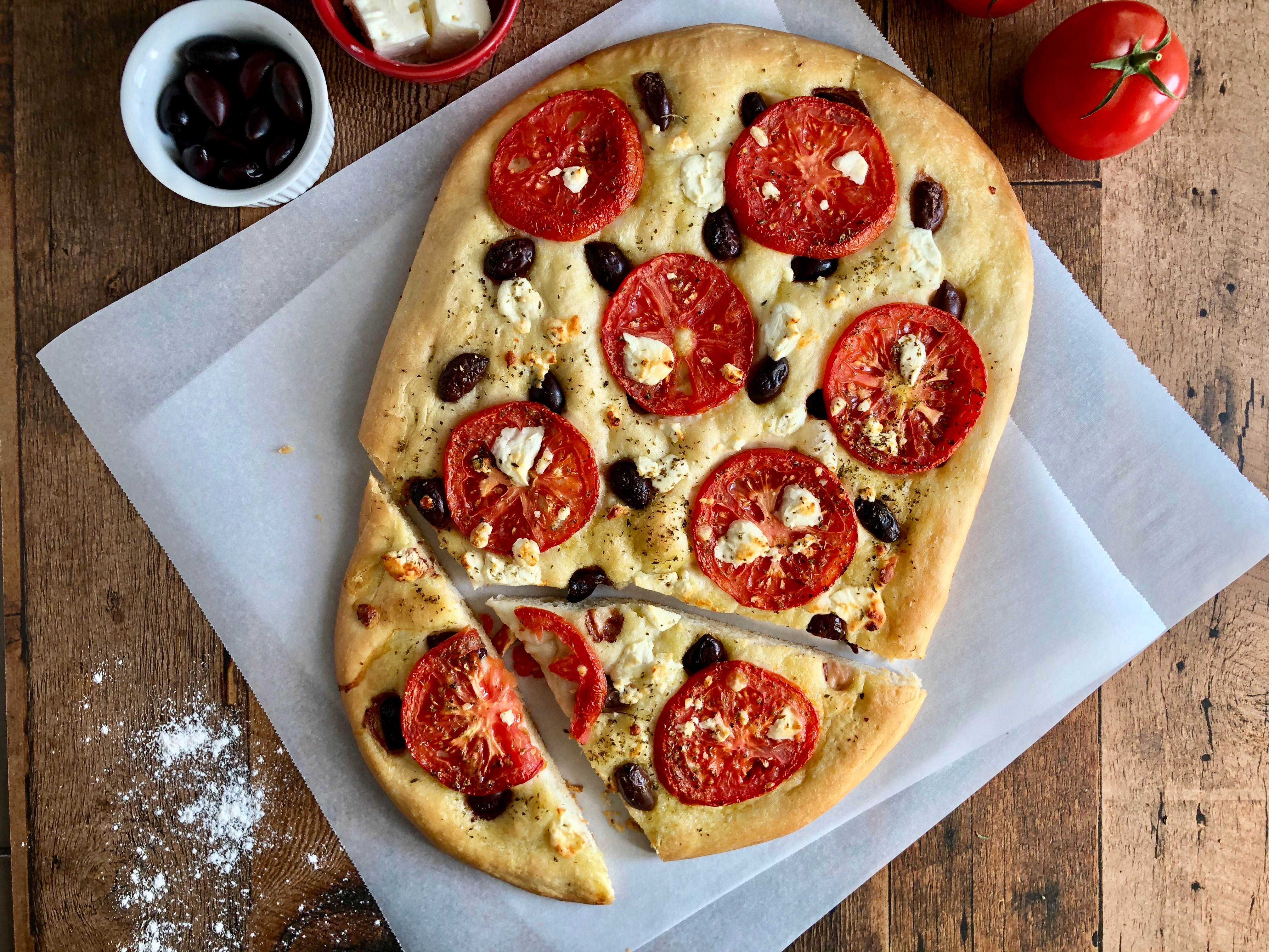 Focaccia With Tomatoes Olives And Feta Taking The Guesswork Out Of Greek Cooking One Cup At A Time